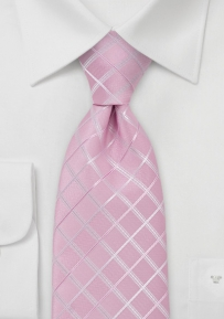Light Pink Kids Tie with Silver Checks