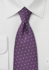 Purple and Silver Polka Dot Tie