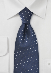 Small Polka Dot Tie Navy Silver