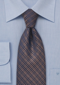 Checkered Tie in Copper and Navy