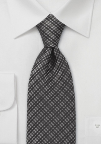 Checkered Tie in Charcoal
