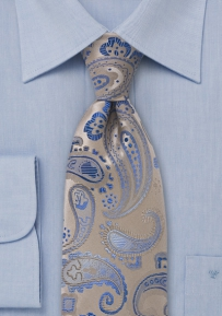 Paisley Print in Champagne and Blue