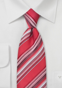 XL Sized Striped Tie in Red, Gray, White