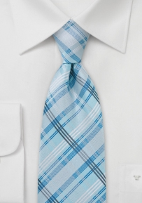 Modern Check Pattern Light Blue Tie in XL Size