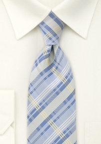 Modern Check Pattern Tie Light Blue