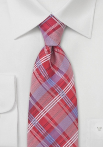 Checkered Tie Red and Light Blue