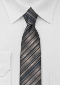 Latte Brown Black Skinny Tie