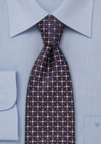 Designer Tie in Navy, Copper, Gray