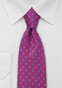 Silver and Hot Pink Dotted Tie