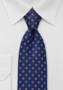 Blue and Copper Polka Dot Tie