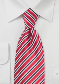 Mens Striped Tie in Black Red