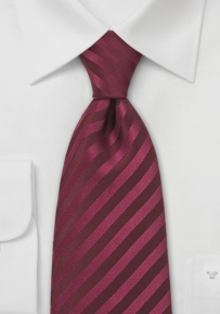 Berry-Red Striped Silk Tie