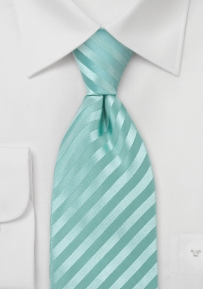 Extra Long Striped Silk Tie in Mint Green