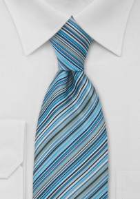 Modern Aqua Blue Striped Tie