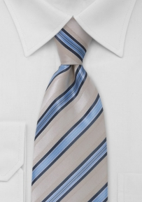 Taupe and Light Blue Striped Tie