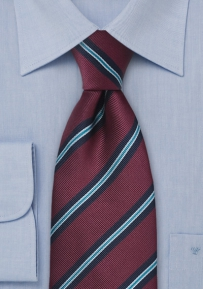 Repp-Stripe Tie in Burgundy and Aqua