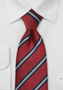 Crimson Red Striped Tie in XL