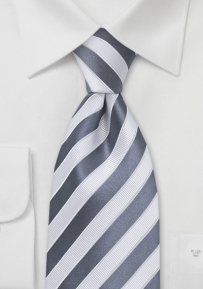 Designer Tie in Gray and White