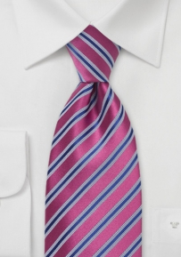 Striped Fuschia - Royal Blue Tie