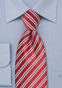Mens Silk Tie in Red and Gray