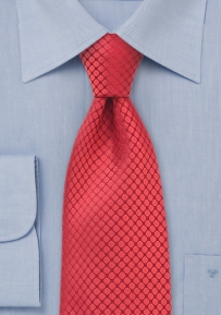 Extra Long Red Silk Tie by Chevelier