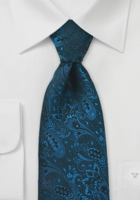Dark Teal Blue Designer Tie in XL Length