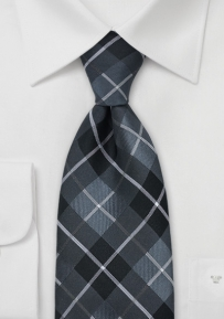Black & Silver Checkered Tie