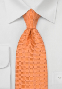 Boys Length Silk Tie in Apricot Orange