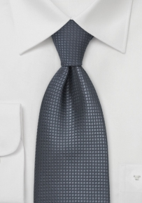 Extra Long Silk Necktie in Dark Gray