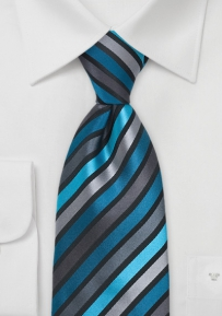 Boys Tie in Teal and Black