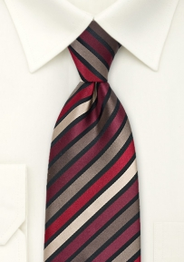 Striped Tie in Tan, Burgundy, Red
