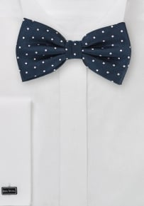 Silk Bow Tie in Navy with Silver Polka Dots