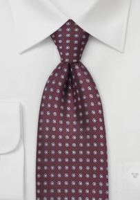 Burgundy and Gray Dotted Tie