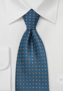 Teal Tie with Bronze Dots