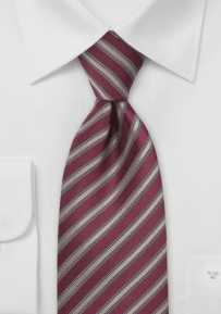Red and Bronze Striped Tie