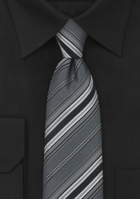Striped Necktie in Bluish-Gray