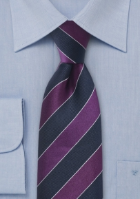 Striped Tie Dark Blue Purple