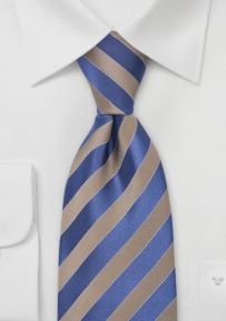 Mens Silk Tie in Tan and Blue
