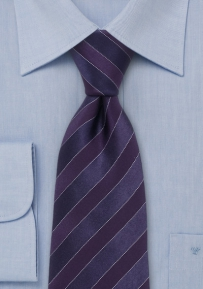 Striped Designer Tie in Dark Purple