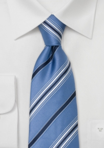 Ice-Blue Silk Tie With White and Navy Stripes