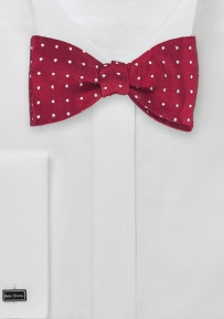 Self Tie Polka Dot Bow Tie in Cherry Red