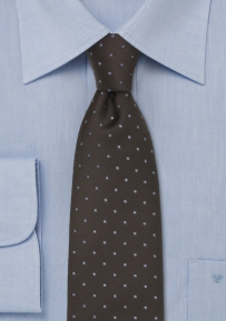 Brown & Light Blue Polka Dot Tie