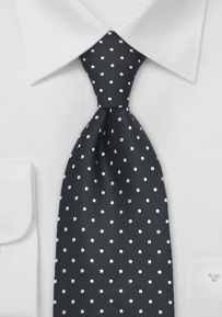White and Black Dotted Tie