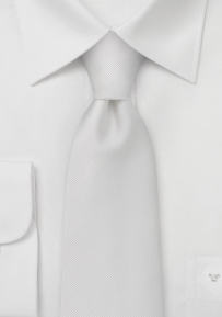 Classy White Silk Tie With Ribbed Fabric Pattern