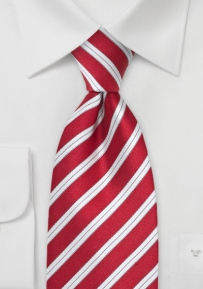 Striped Tie in Bold Red