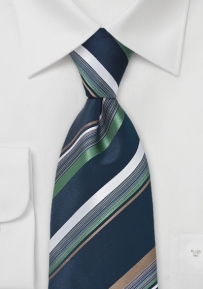 Striped Tie in Navy, Green and Brown