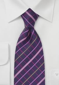 Plaid Tie in Tonal Purples