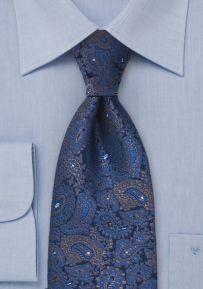 Extra Long Navy Paisley Silk Tie