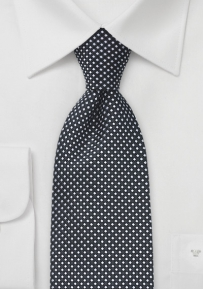Embroidered Polka Dot Tie in Black