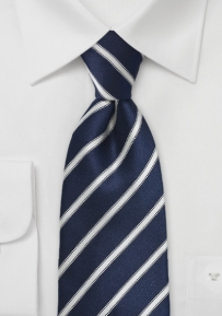 Dark Navy Striped Tie in XL Length